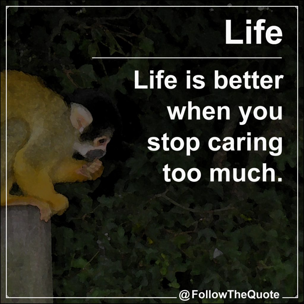 Stop caring too much, life get better. | FollowTheQuote.com