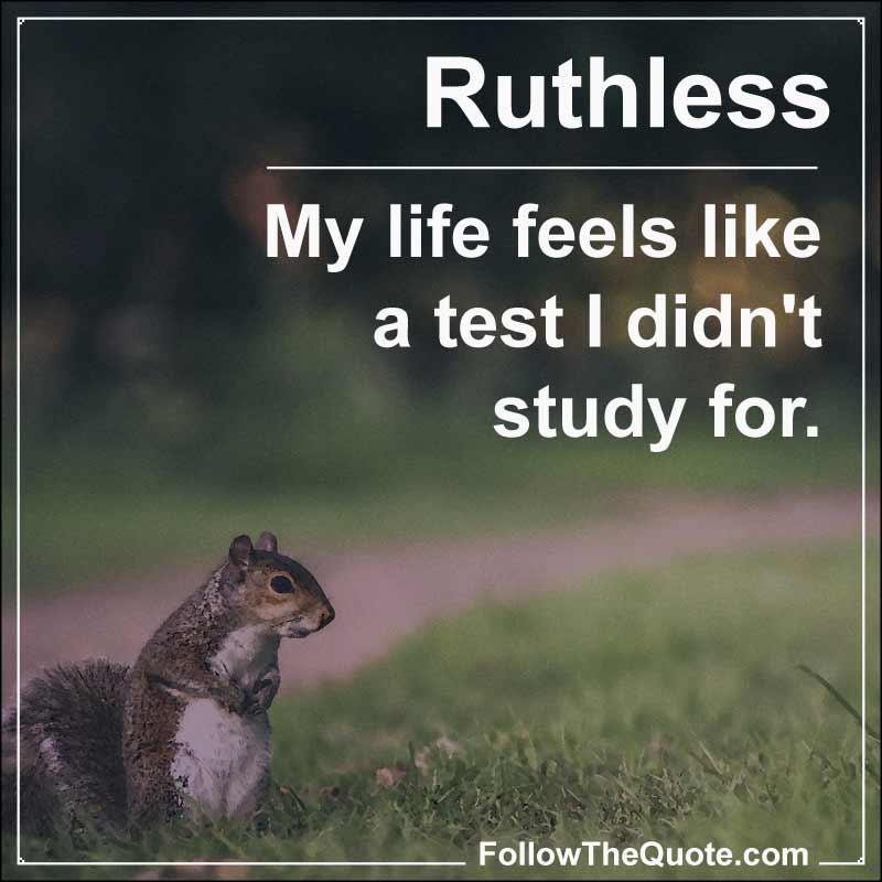 Slogan: My life feels like a test I didn't study for.