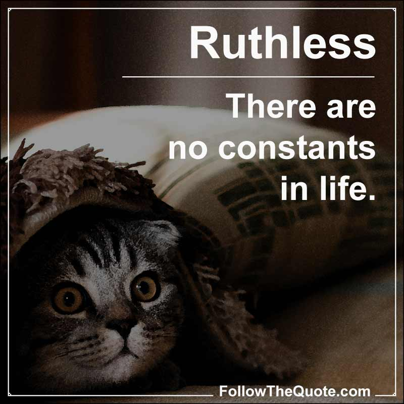 Slogan: There are no constants in life.